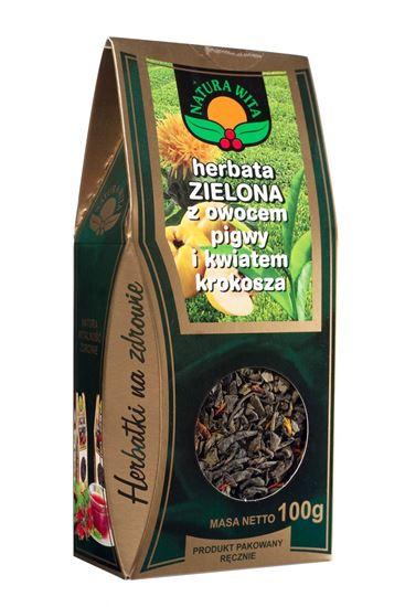 Obrazek Natura Wita   HERBATA ZIELONA z owocem pigwy i kwiatem krokosza 100g